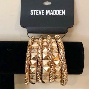 Steve Madden Goldtone Chunky Stretchy Bracelet Set